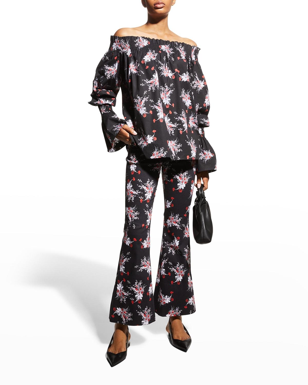 Floral-Print Cropped Flare-Leg Pants