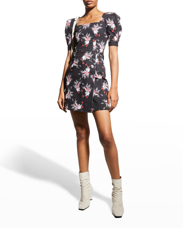 Floral Print Puff-Sleeve Mini Dress