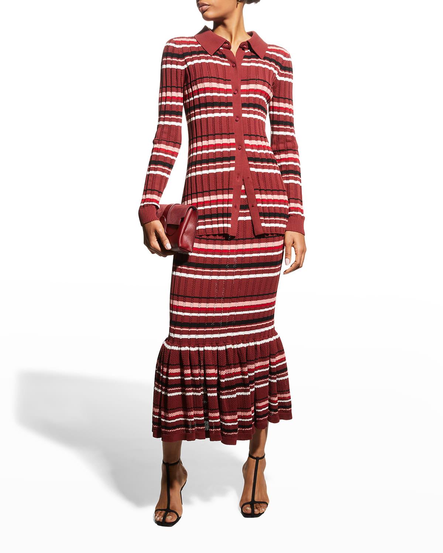 Stripe Button-Up Cotton Crepe Shirt