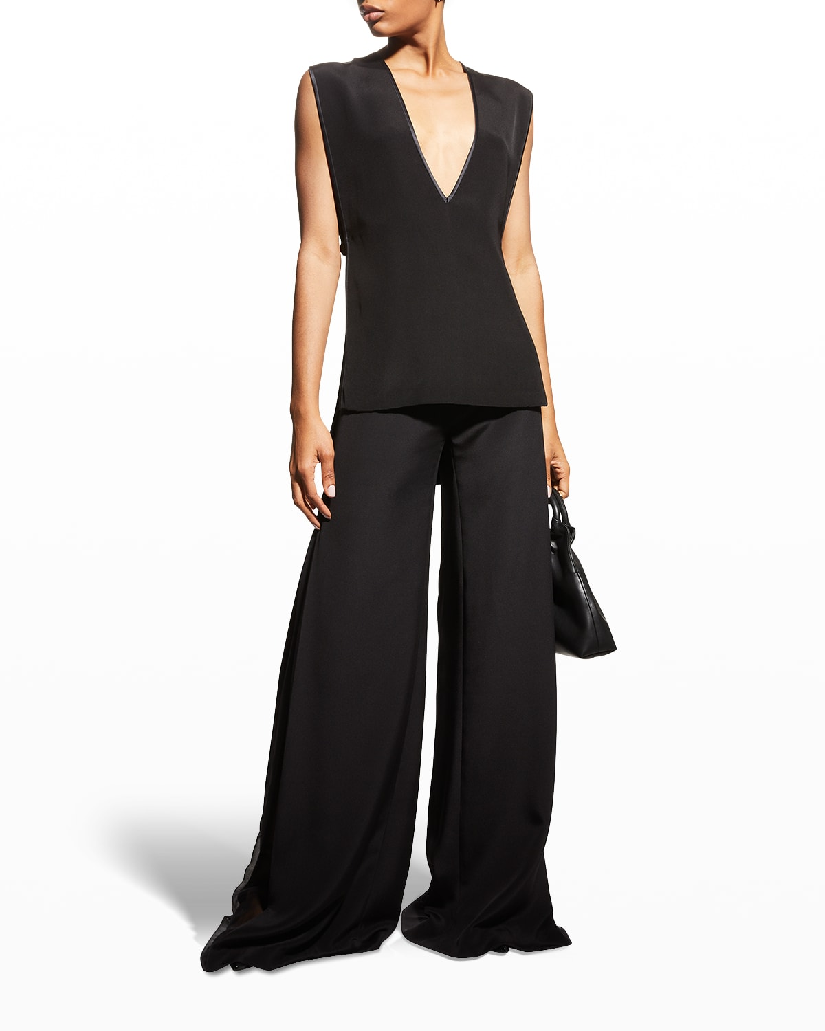 Open-Sides Silk Crepe Top
