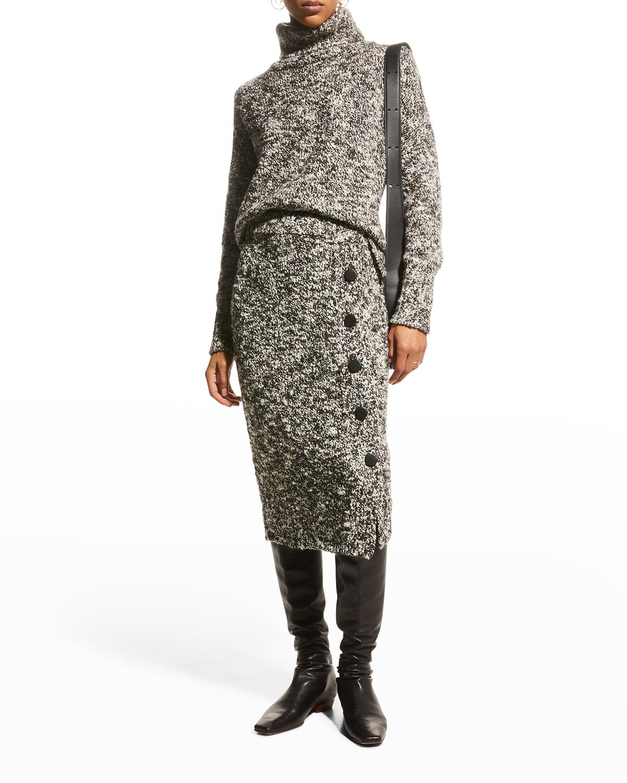 Wool-Cashmere Boucle Midi Skirt