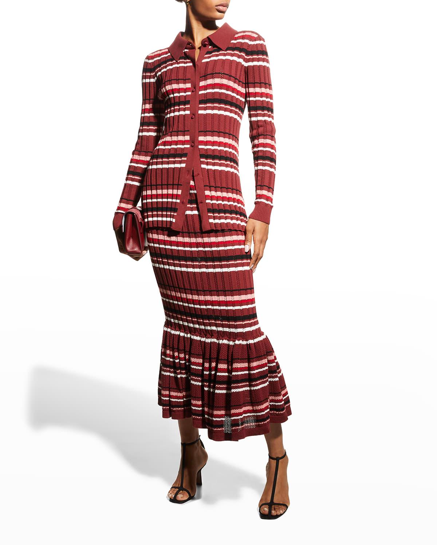Stripe Crepe Mermaid Midi Skirt