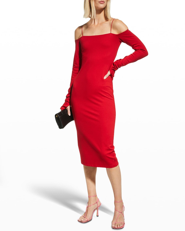 Dorinda Off-Shoulder Fitted Midi Dress