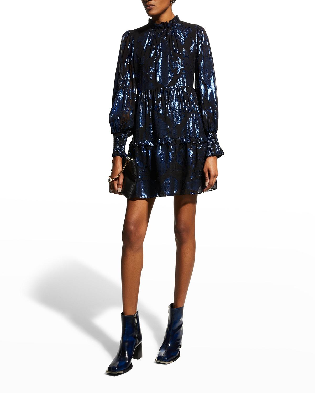 Marella Mock-Neck Blouson-Sleeve Tunic Dress