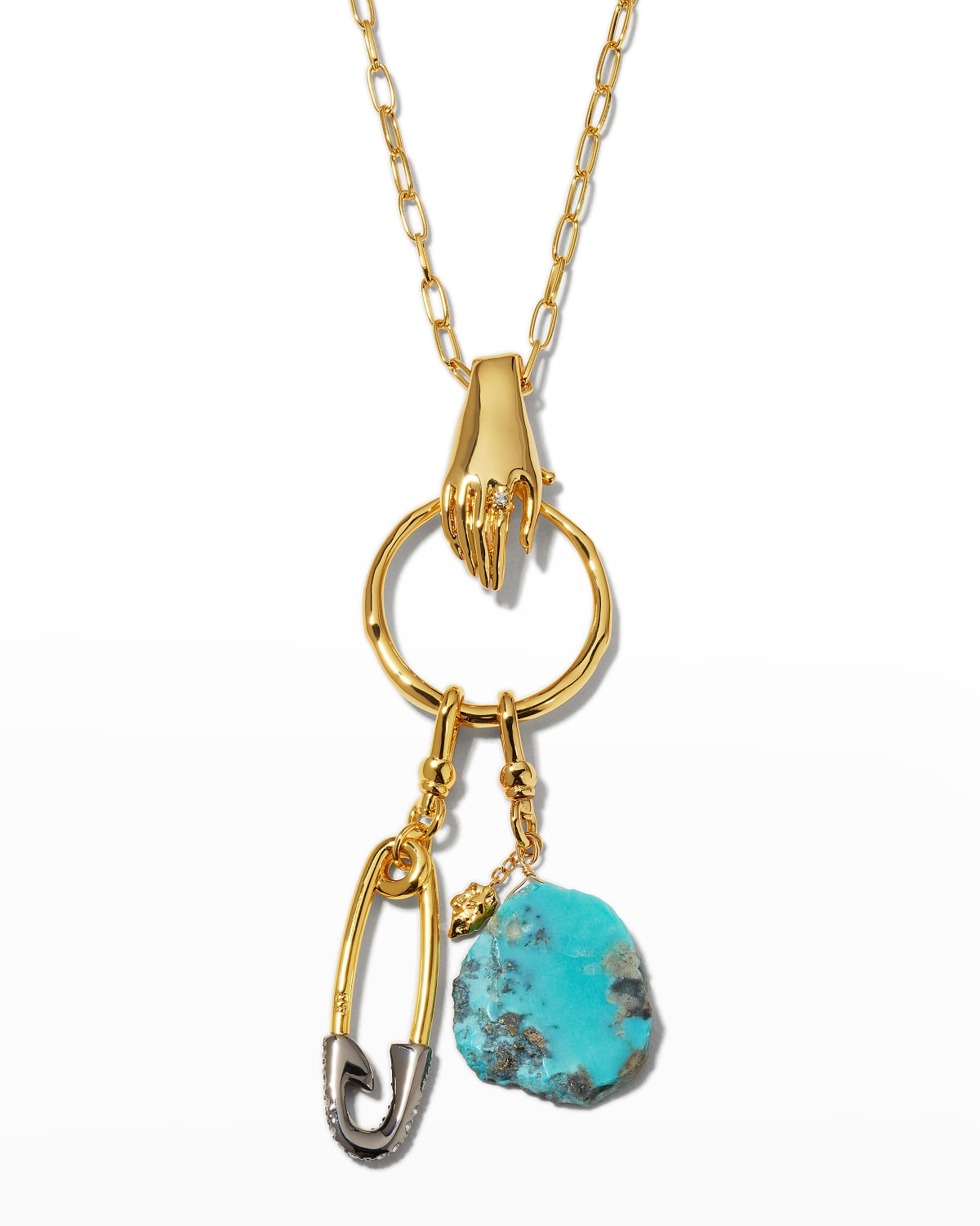 Hand Chain Turquoise and Safety Pin Necklace