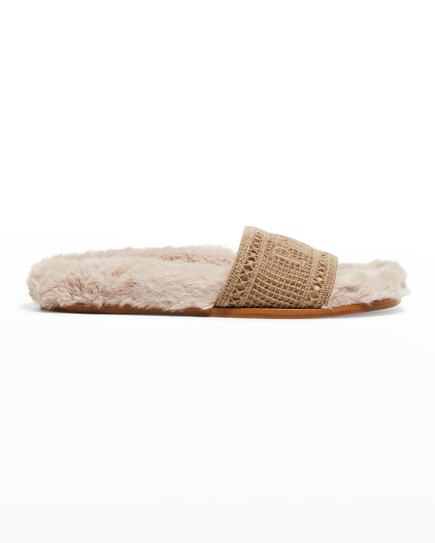 Navona Peace Faux Fur Cozy Sandals