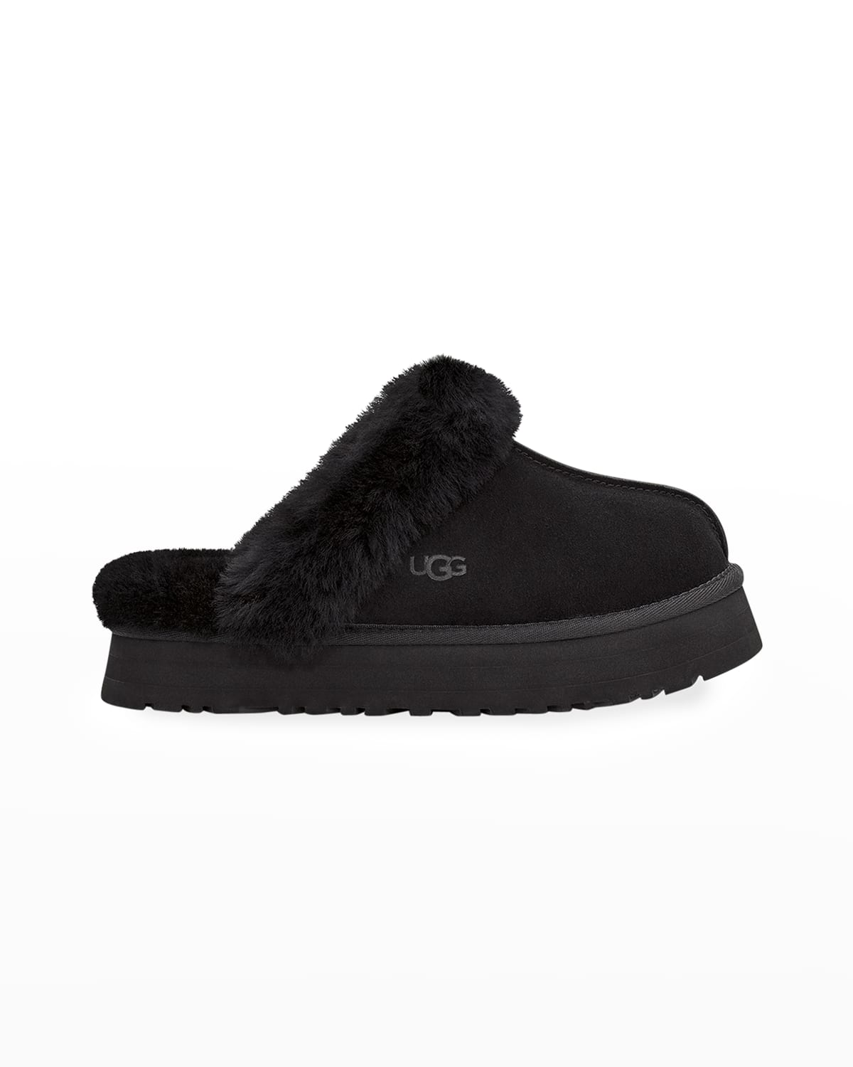 Disquette Suede & Shearling Platform Slippers