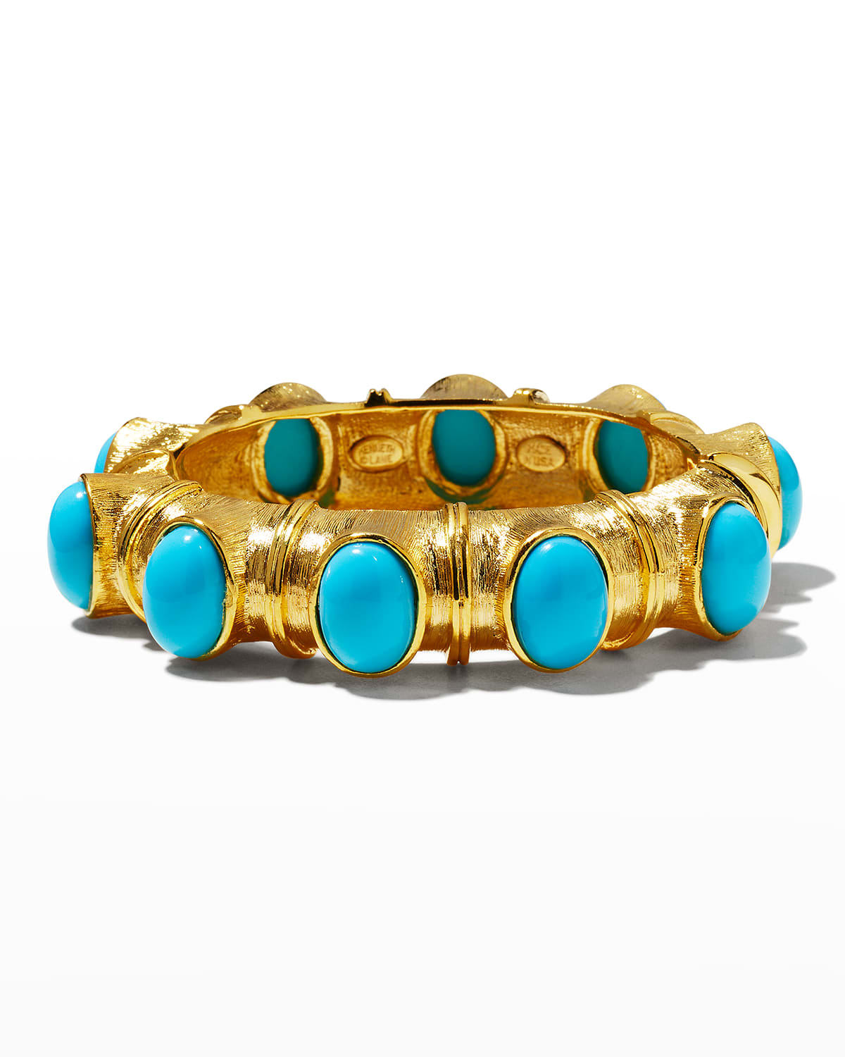 Gold with Turquoise Cabochons Hinged Bracelet