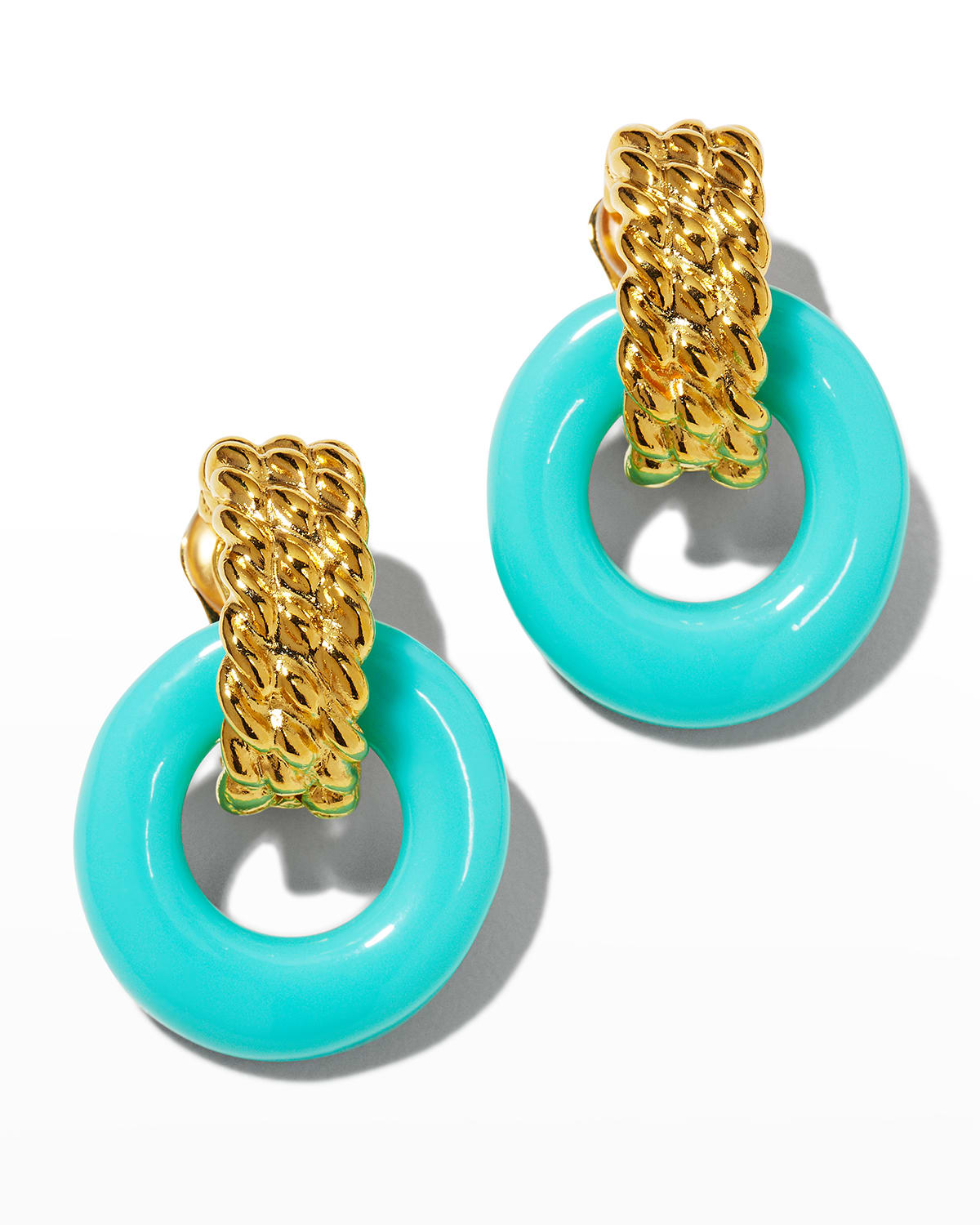 Gold Top and Turquoise Bottom Doorknocker Clip Earrings