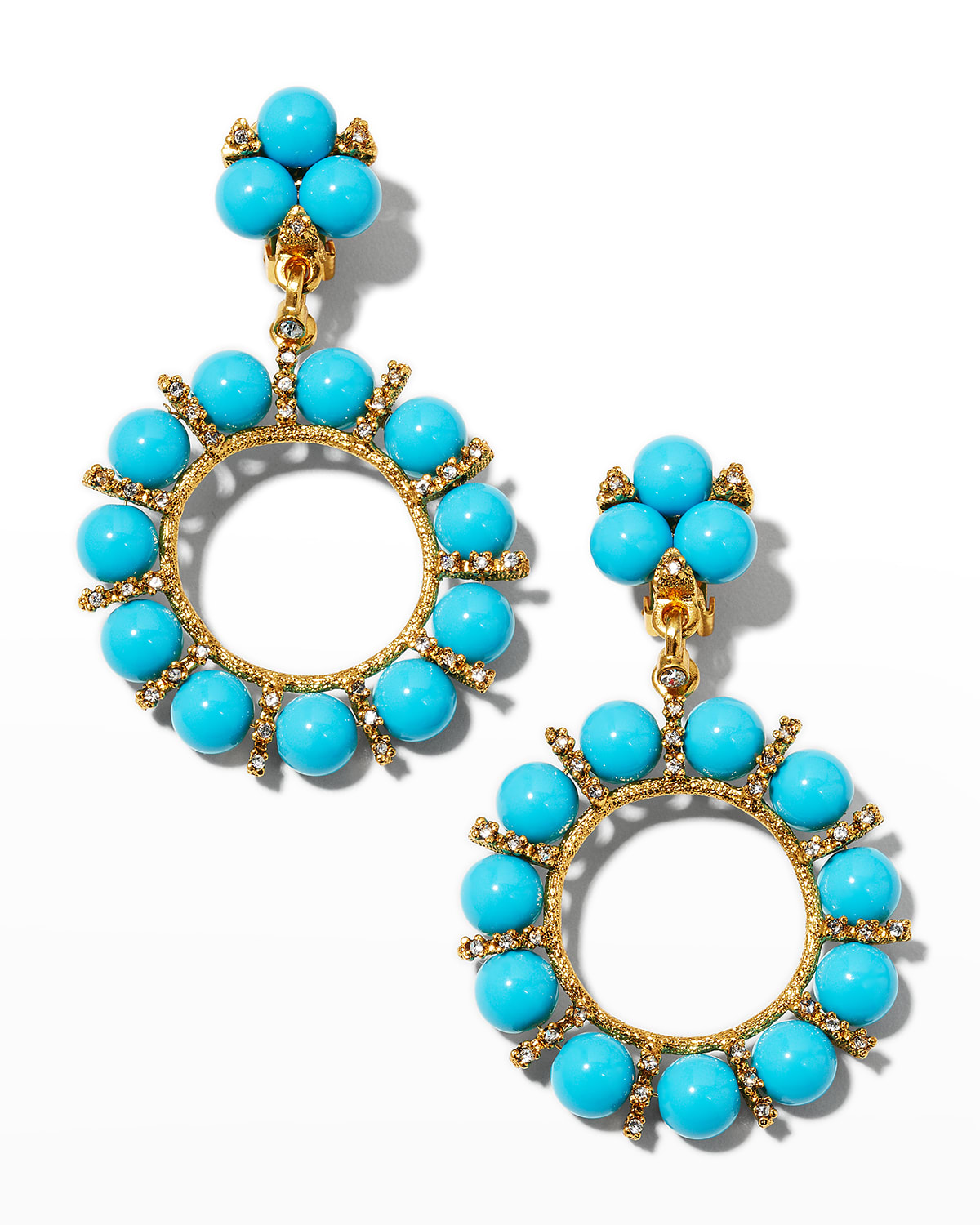 Light Antiqued Gold Rhinestone Clip Earrings with 10mm Turquoise Resin Balls