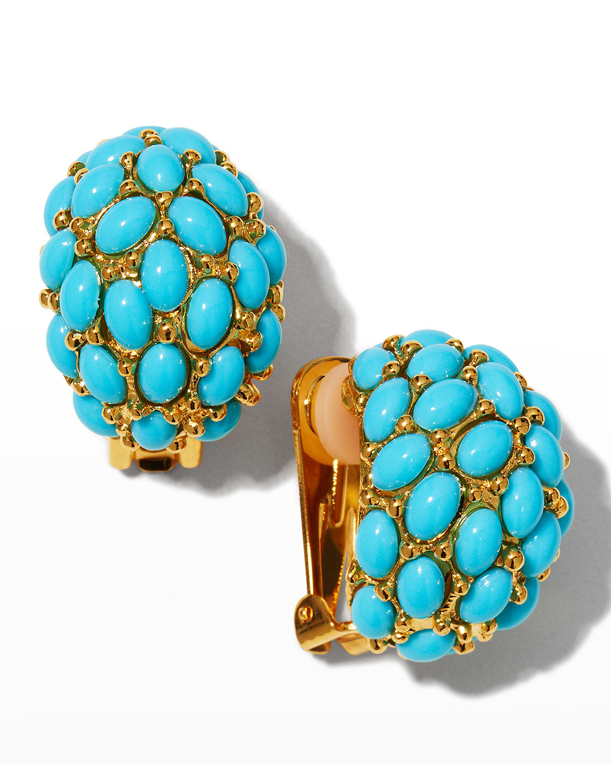 Gold and Turquoise Cabochons Domed Hoop Clip Earrings