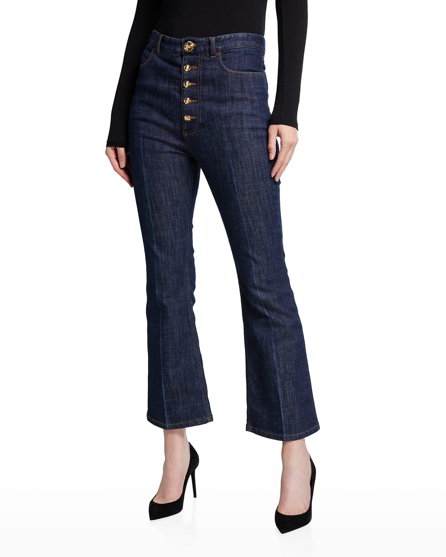 Button-Front Flare-Leg Jeans