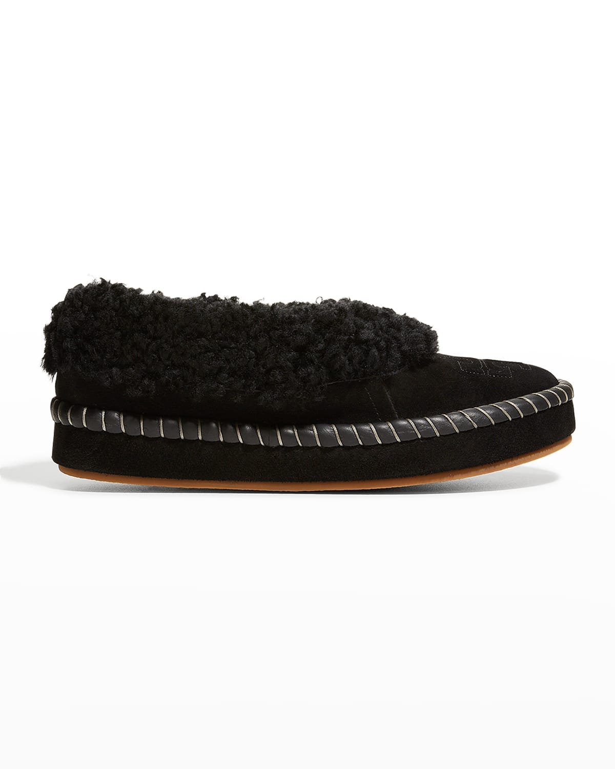 Suede Shearling Logo Loafer Slippers