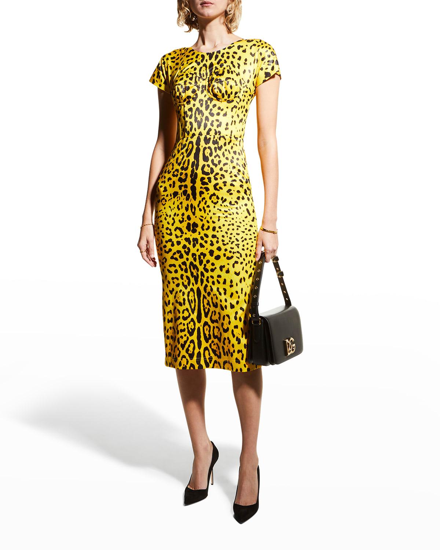 Leopard-Print Bustier Dress
