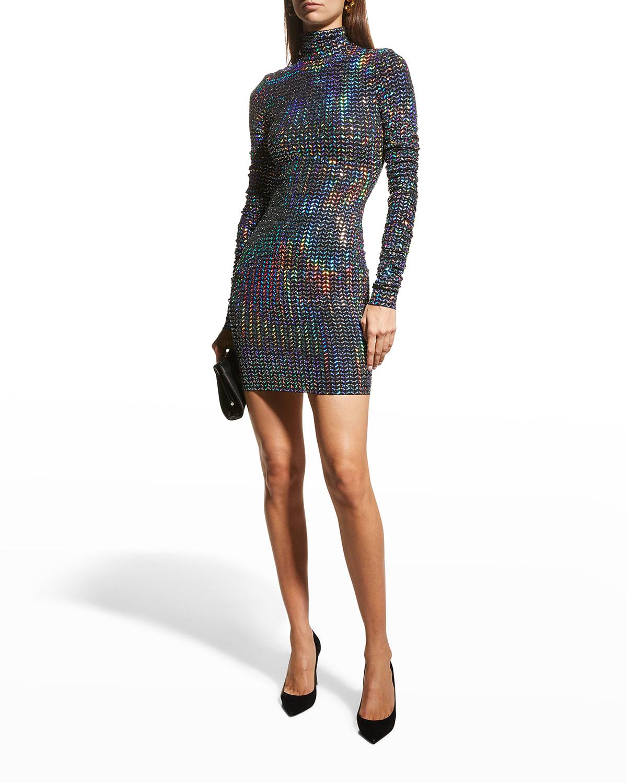 Iridescent-Sequin Mini Dress