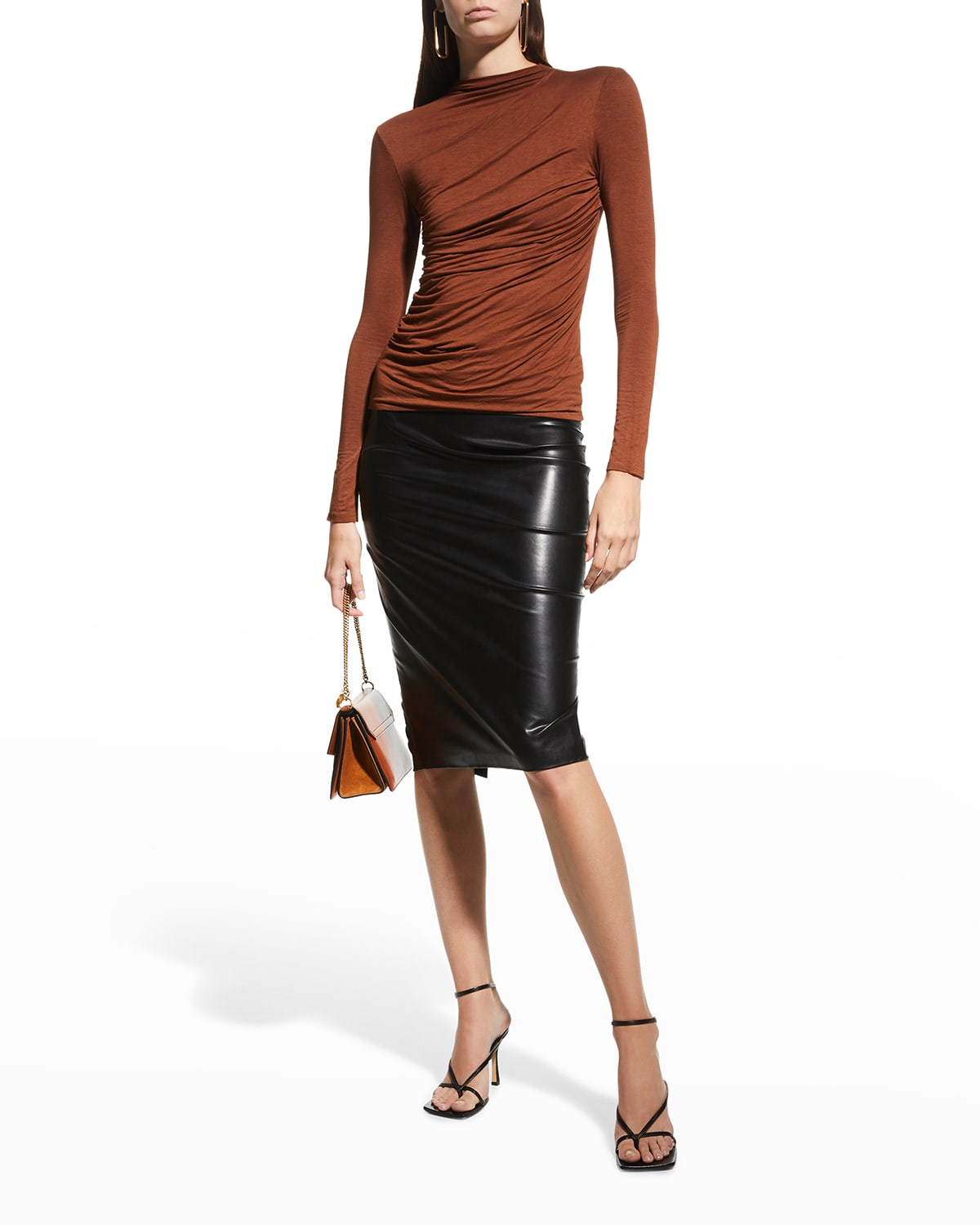 Ruched-Front Long-Sleeve Jersey Top
