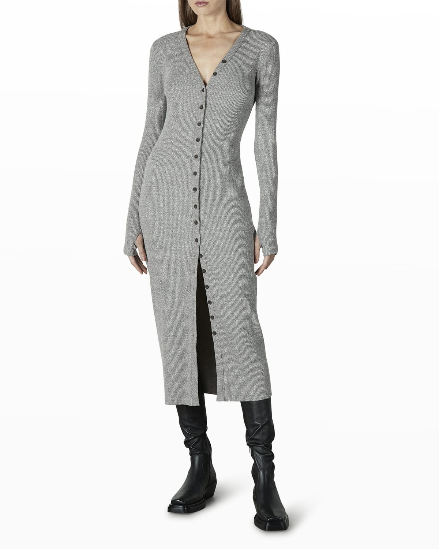 Sweater Ribbed Midi Cardigan Dress