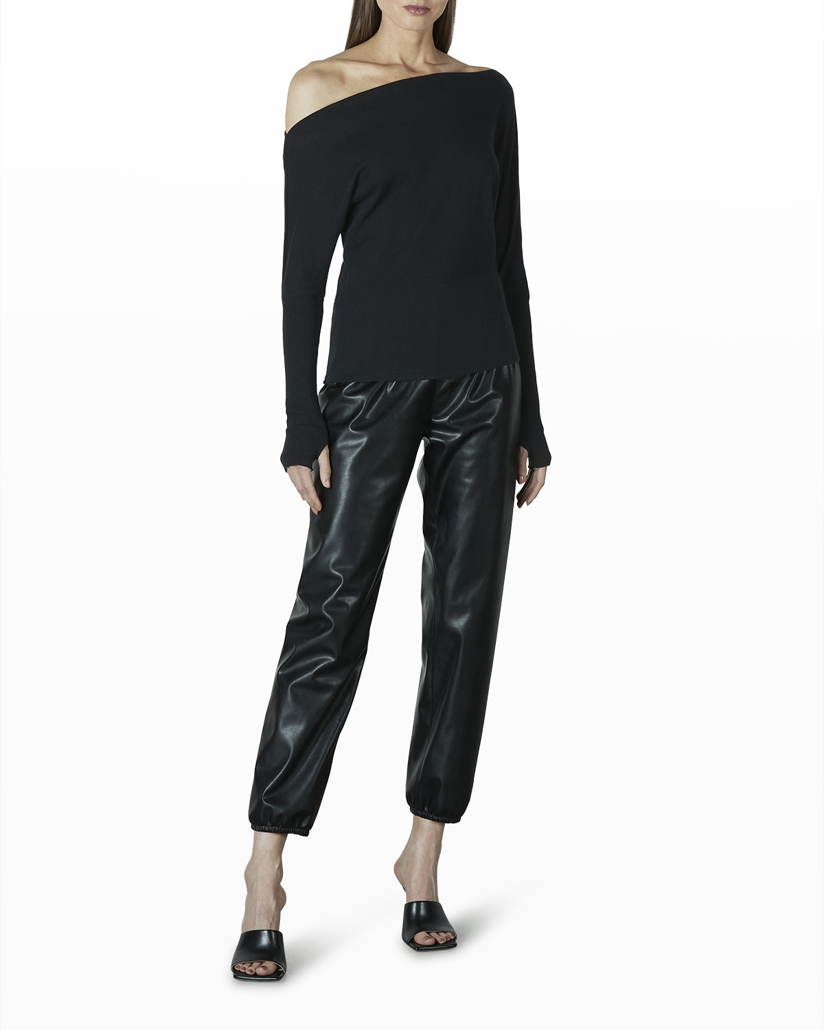 Cropped Vegan Leather Joggers