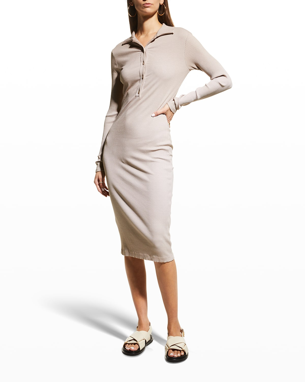 Knee-Length Ribbed Polo Dress