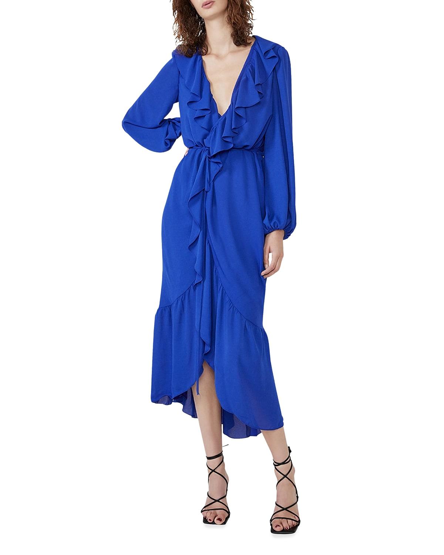 Sophya Midi Frill Wrap Dress