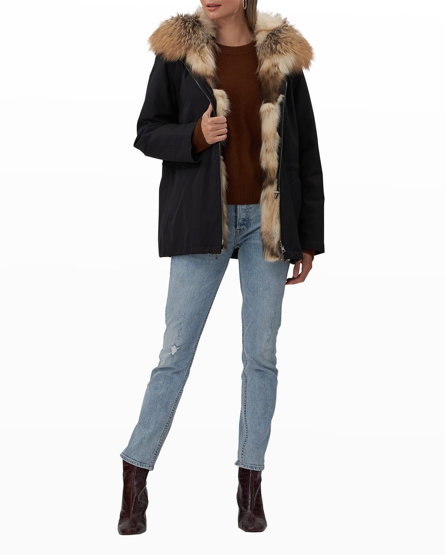 Fox Fur-Lined Parka Jacket