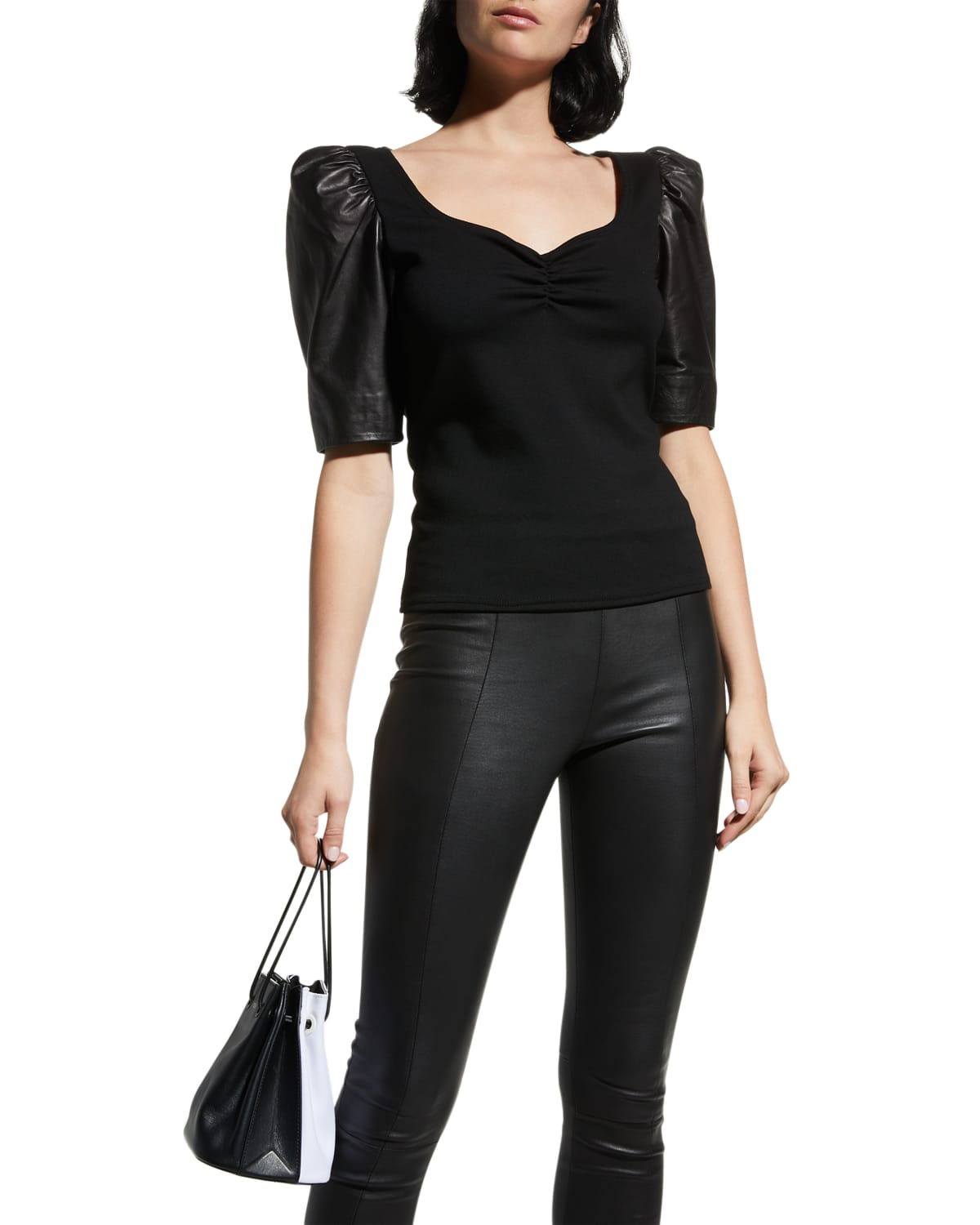 Kira Sweetheart Knit Top with Leather