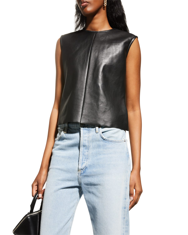 Sofia Sleeveless Leather Top
