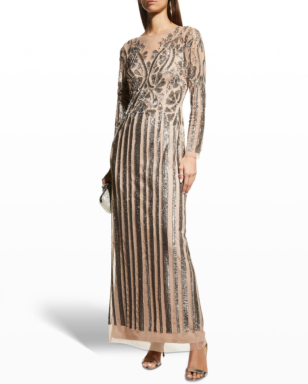 Long-Sleeve Beaded Column Gown