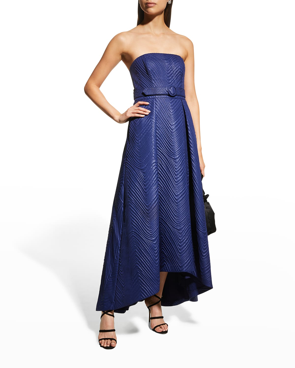 Bella Quilted Jacquard Strapless Gown