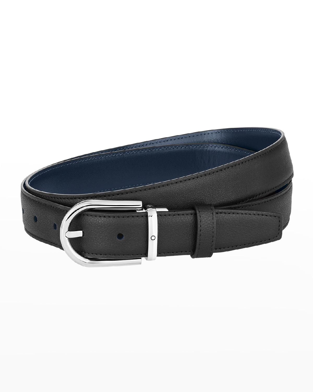 Men's Horseshoe-Buckle Reversible Leather Belt