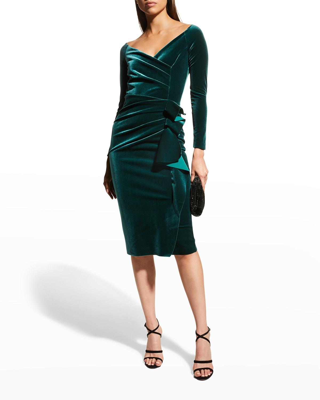 Silveria Long-Sleeve Side-Drape Velvet Dress