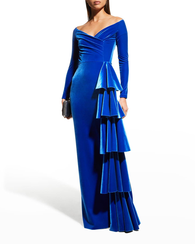 Trinity V-Neck Side-Drape Velvet Gown