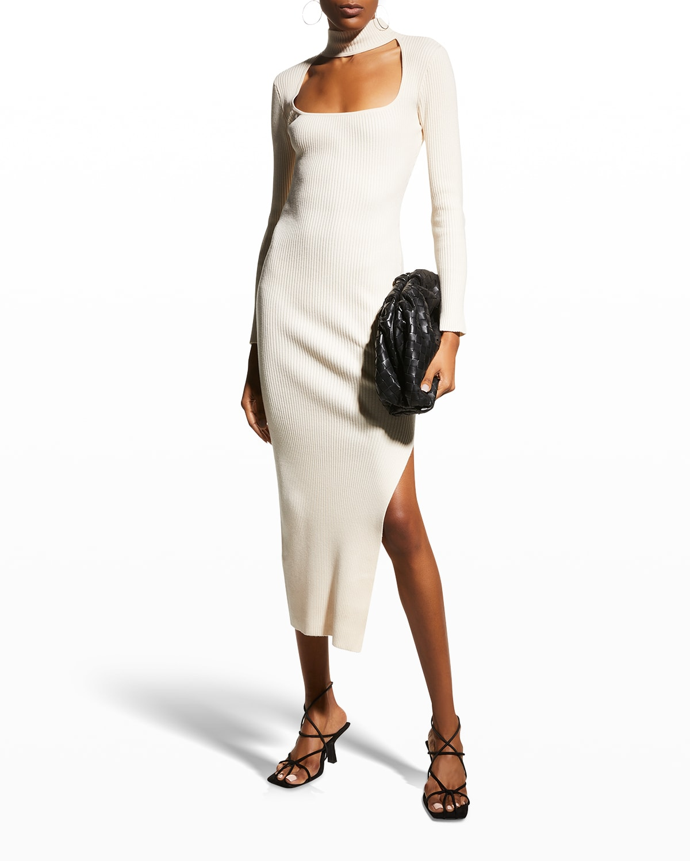 Kenny Recycled Rib Square-Neck Dress