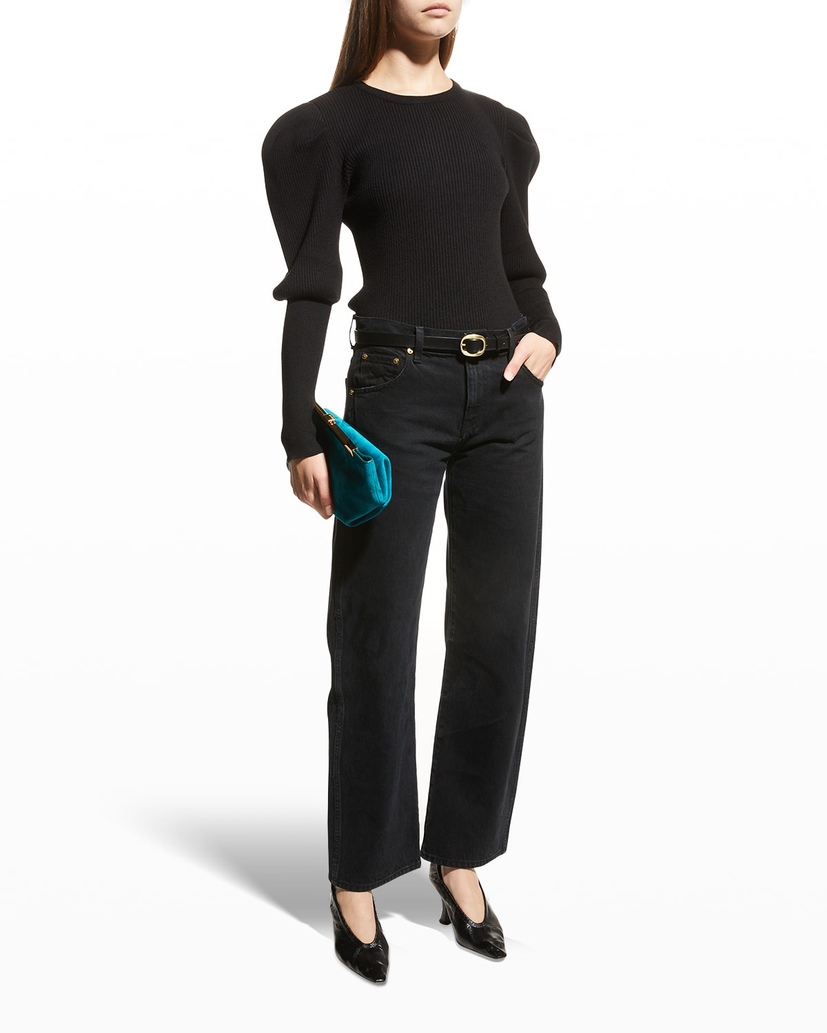 Levy Recycled Rib Puff-Sleeve Top