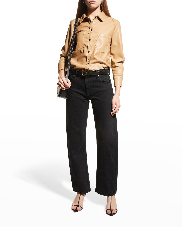Ryder Vegan Leather Long-Sleeve Shirt