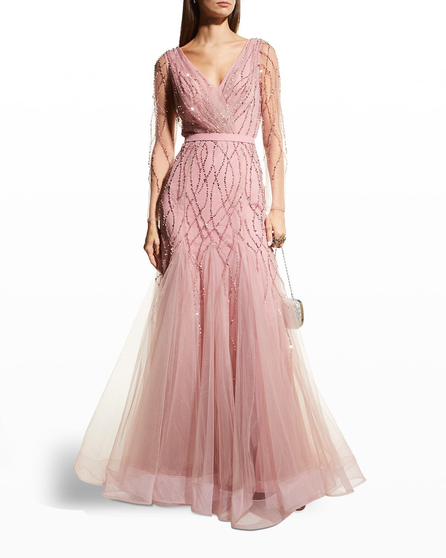 Beaded Tulle Long-Sleeve Godet Gown
