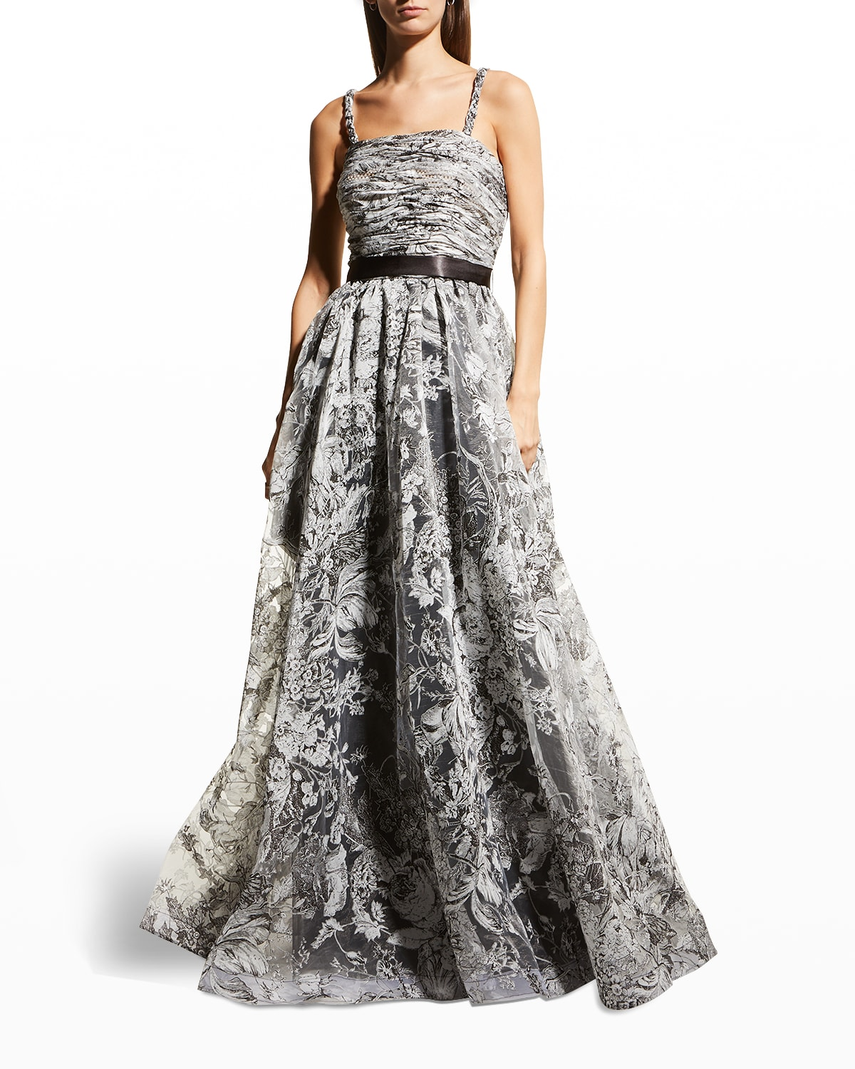 Floral-Print Pleated Bust A-Line Gown