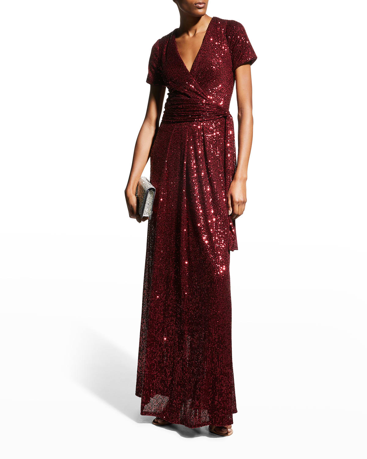 Short-Sleeve Sequin Sashed Gown