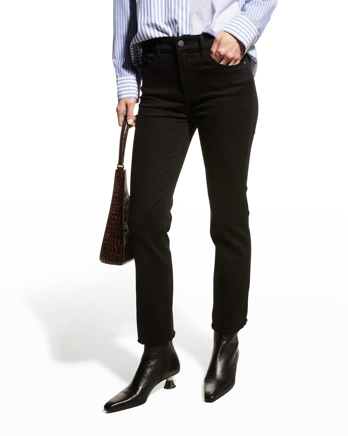 Mara Mid-Rise Straight Ankle Jeans
