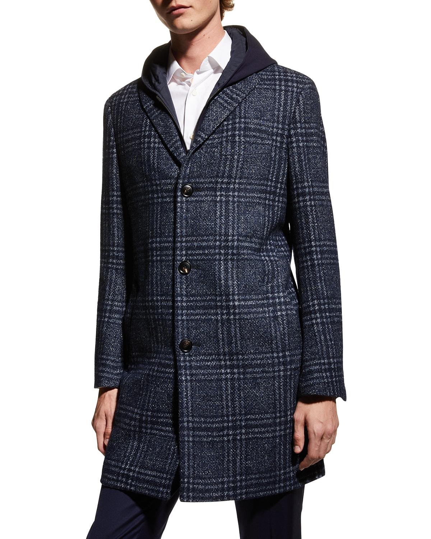 Men's Spencer Plaid Overcoat w/ Hooded Bib