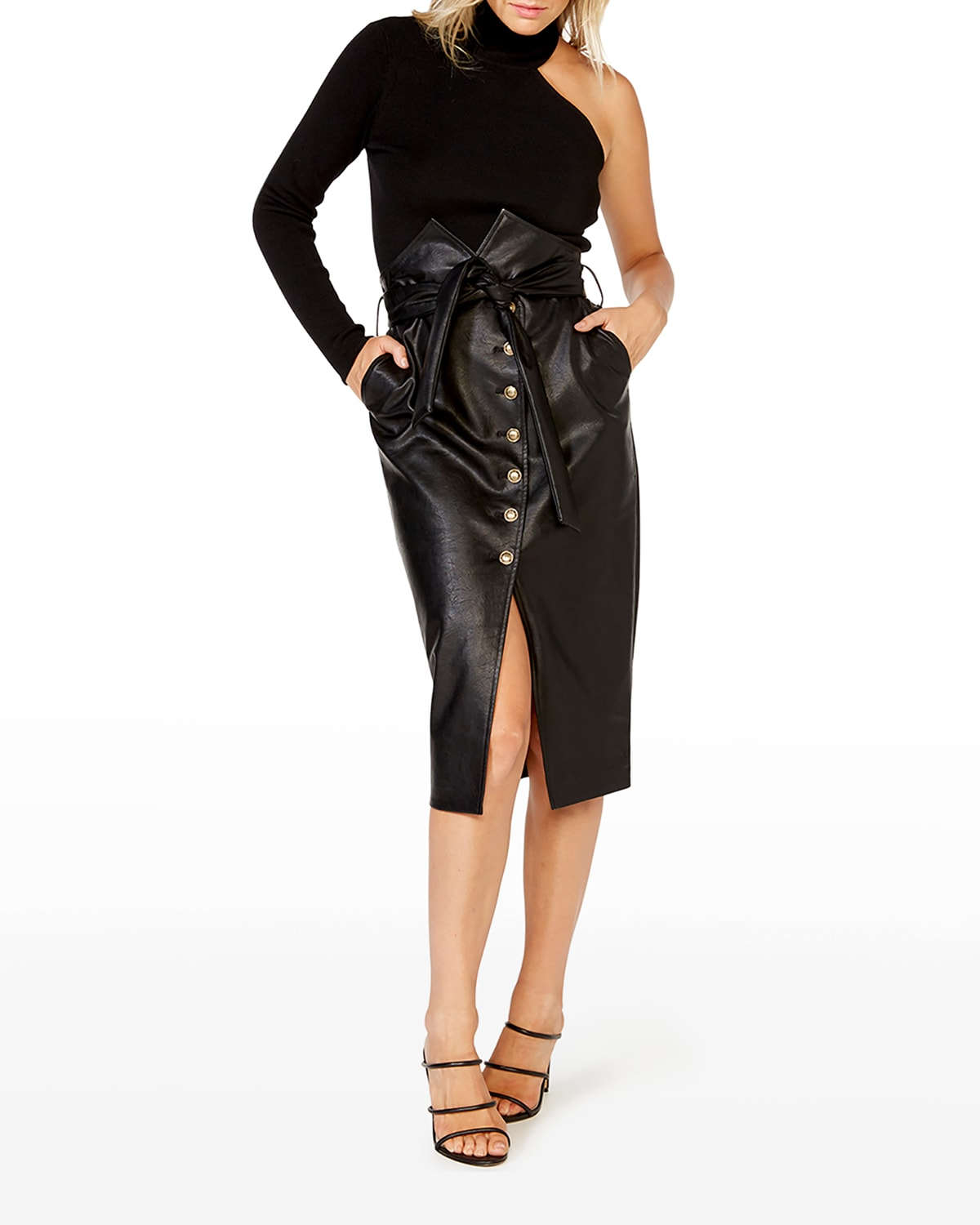 Faux-Leather Belted Paperbag Skirt
