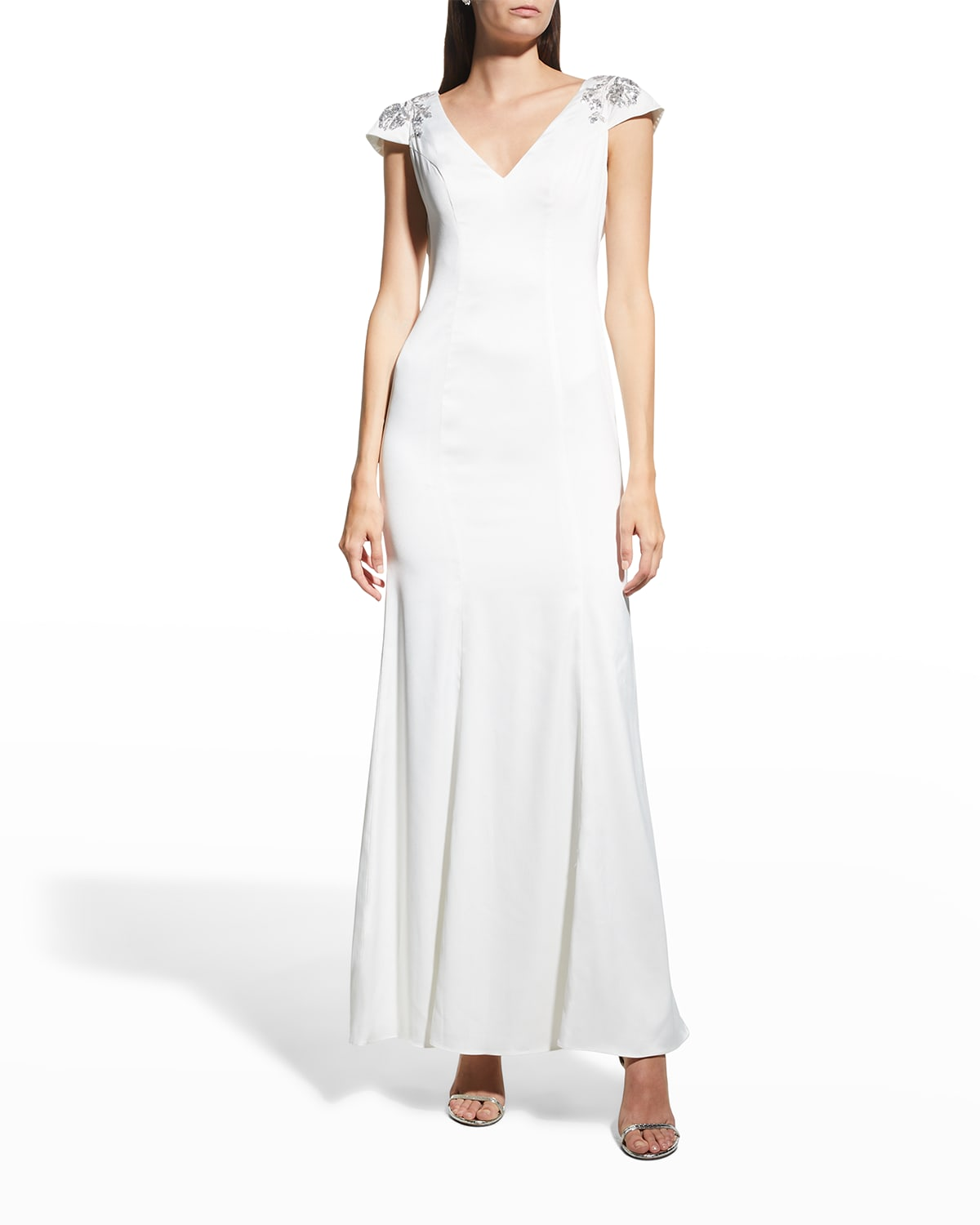 V-Neck Beaded Cap-Sleeve Gown w/ Bow