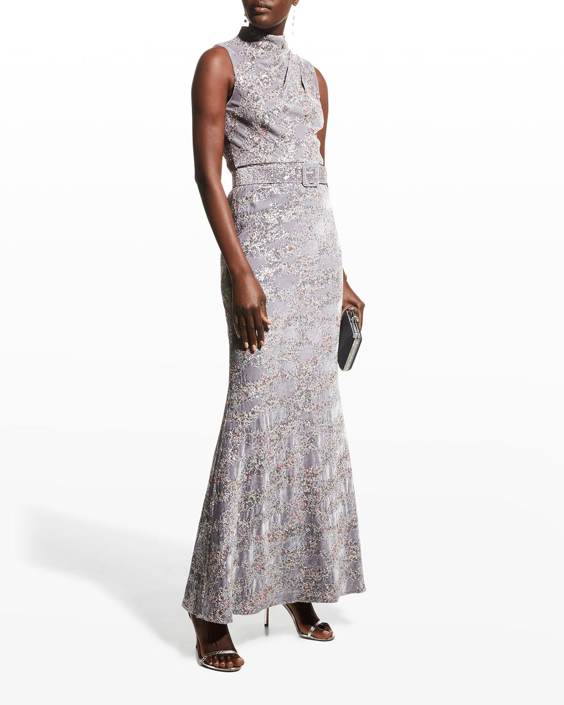 Sequin Velvet High-Neck Column Gown