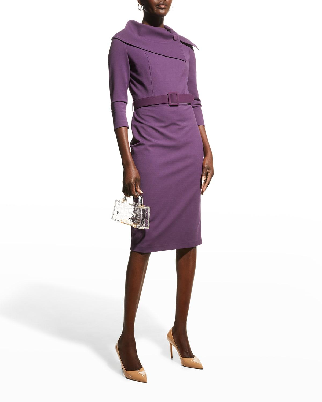 Envelope-Collar Crepe Sheath Dress