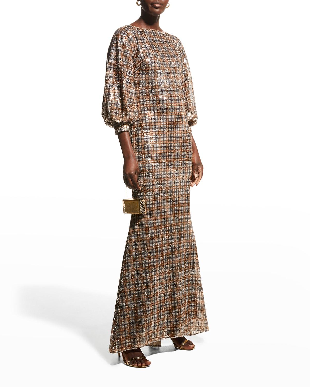 Sequin Glen Plaid Full-Sleeve Gown