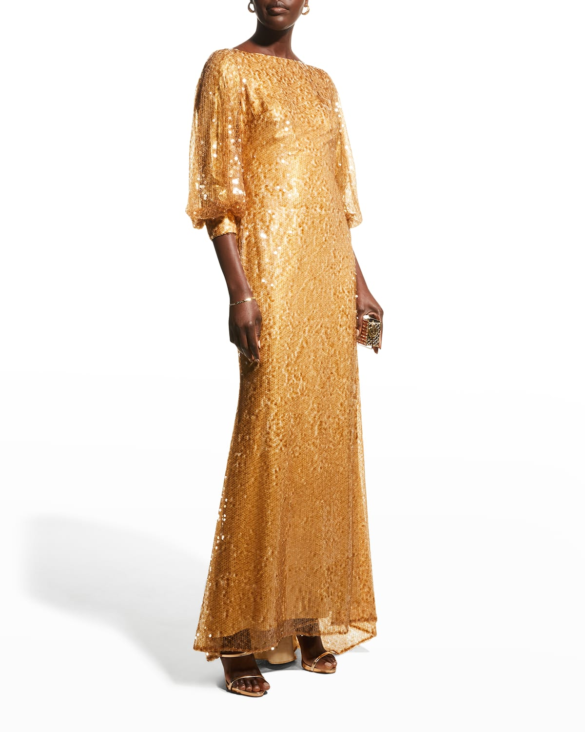 Sequin Puff-Sleeve Gown