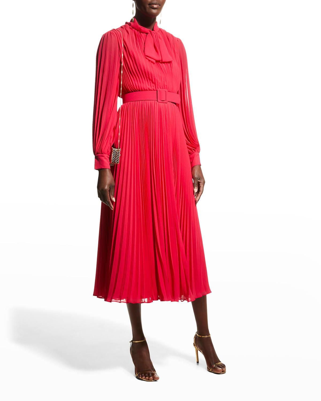 Tie-Neck Pleated Georgette Midi Dress