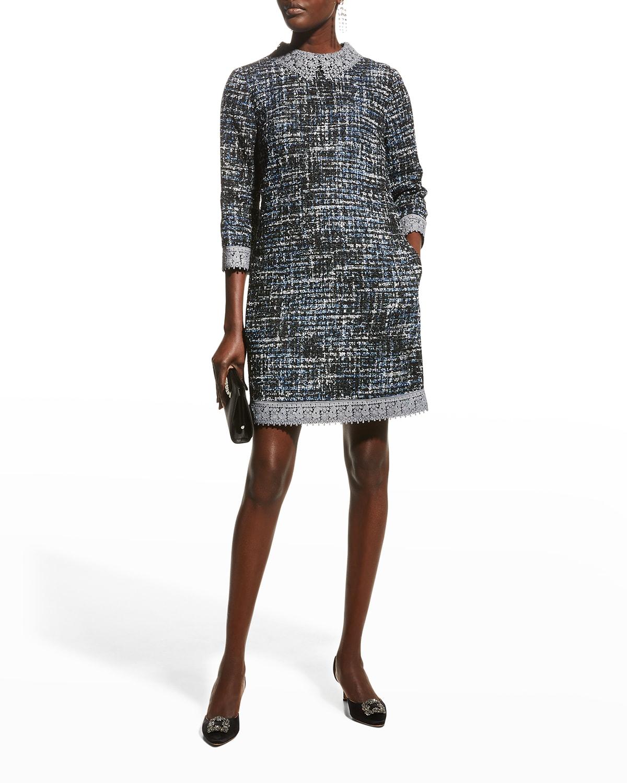 Lace-Trim 3/4-Sleeve Tweed Shift Dress