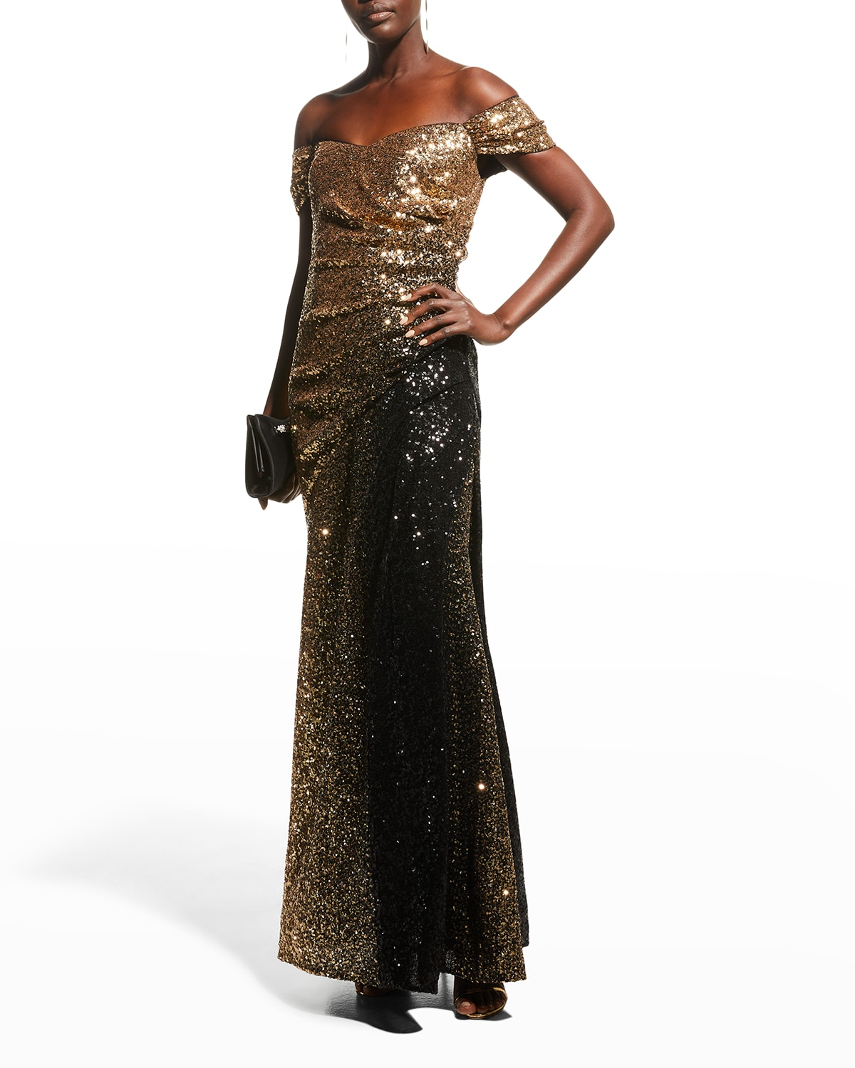 Off-the-Shoulder Ombre Sequin Gown