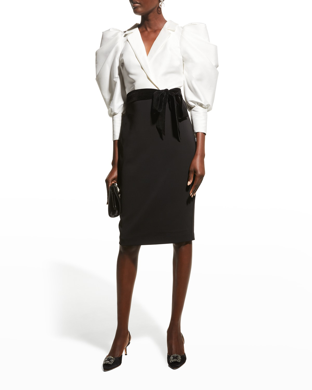 Mutton-Sleeve Bicolor Combo Dress